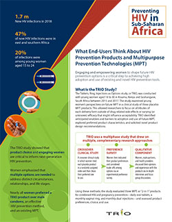 TRIO General Research Brief: What End-Users Think About HIV Prevention Products and Multipurpose Prevention Technologies (MPT)