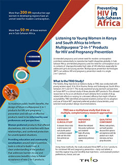"TRIO MPT Research Brief: Listening to Young Women in Kenya and South Africa to Inform Multipurpose ""2-in-1"" Products for HIV and Pregnancy Prevention"