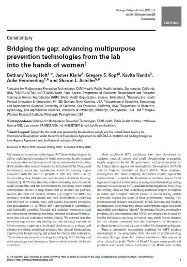 Bridging the gap: Advancing multipurpose prevention technologies from the lab into the hands of women