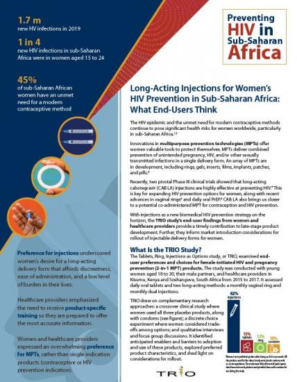 TRIO Study Brief:  Long-Acting Injections for Women's HIV Prevention in Sub-Saharan Africa: What End-Users Think