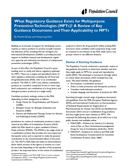 What Regulatory Guidance Exists for Multipurpose Prevention Technologies (MPTs)? A Review of Key Guidance Documents and Their Applicability to MPTs