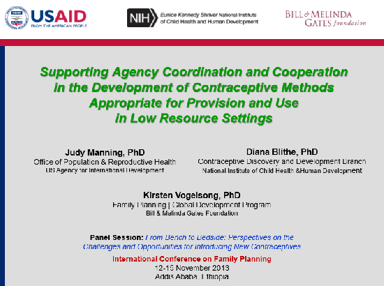 Supporting Agency Coordination and Cooperation in the Development of Contraceptive Methods Appropriate for Provision and Use in Low Resource Settings