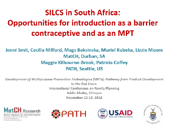 SILCS in South Africa: Opportunities for introduction as a barrier contraceptive and as an MPT