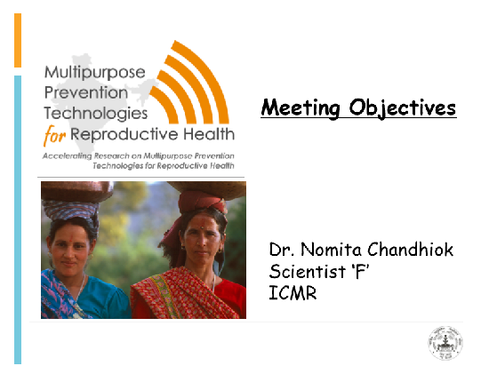 Meeting objectives: Symposium on accelerating research on MPTs