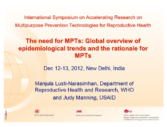 The Need for MPTs: Global overview of epidemiological trends and rationale for MPTs