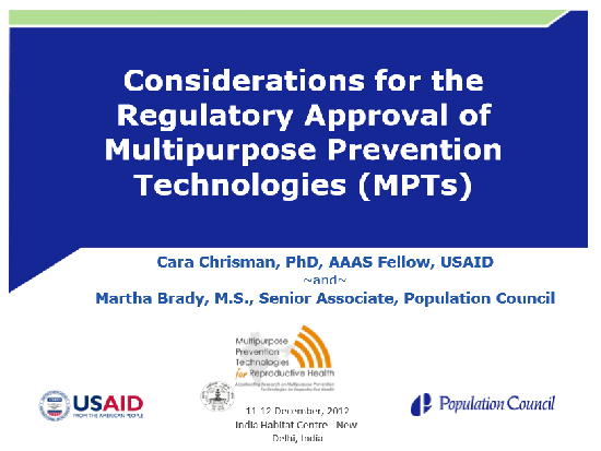 Considerations for the Regulatory Approval of Multipurpose Prevention Technologies (MPTs)