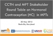 CCTN and MPT Stakeholder Round Table on Hormonal Contraception (HC) in MPTs