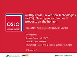Multipurpose Prevention Technologies (MPTs): New reproductive health products on the horizon